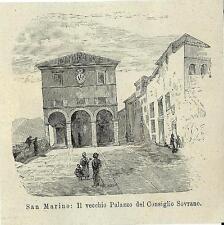 Stampa antica REPUBBLICA SAN MARINO vecchio Palazzo Pubblico 1894 Antique print