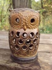 vintage VIKING ART POTTERY OWL Candle Holder Incense Burner JAPAN
