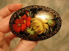 Russian Lacquer Pin Brooch Hand Painted with Red and Yellow Beautiful Flowers