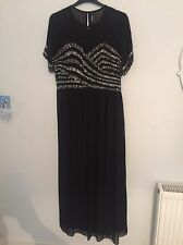 Black Sequin Cocktail Evening Maxi Dress Size 22