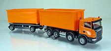 Herpa LKW 306041 Scania R Abrollmulden-Hängerzug (vier-/zweiachsig) - orange