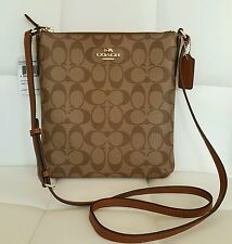 NEW COACH SIGNATURE NORTH SOUTH CROSSBODY BAG BROWN/CRANBERRY F35940