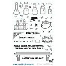 Your Next Stamp Clear Stamp Set - SPOOKY SPELLS - Halloween, Science, Cauldron