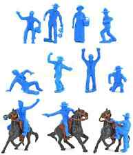 Marx Recast 60mm Cowboys - 11 in 1 poses plus 3 horses, 3 saddles and 3 reins