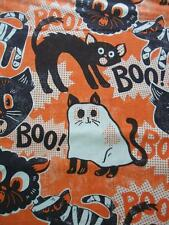 Ma Spooktacular Eve Scaredy Cat Ghost Retro Halloween Blend Fabric Yard