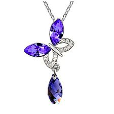 Purple Crystal Butterfly Silver Plated  Water Drop Pendant Necklace