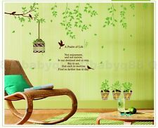 Green vine bird cage flower pot Wall decal Removable sticker kids nursery decor