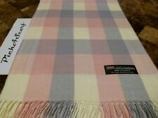 100% CASHMERE Pink Cream Blue Scarf Check Plaid Made in SCOTLAND Wool Q18