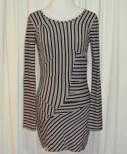 "GORGEOUS TWENTY8TWELVE BLACK&WHITE STRIPED BODY CON MINI DRESS M ""ROSENDALE"""
