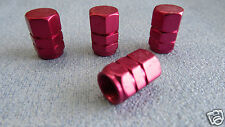 4x Aluminum RED Wheel Tyre Tire Valve Stems Air Dust Caps Cover for Car Bike