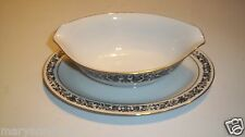 Style House Avalon Ivory Black Floral Gravy Boat Attached Plate Saucer @ cLOSeT