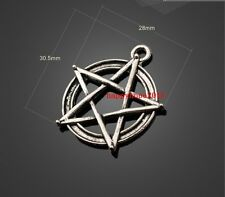 5pcs 31x28mm Ancient Silver pentagram inlay jewelry alloy Charm Pendant