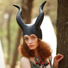 Women Genuine Latex Maleficent Horns Halloween Party Witch Cosplay Headpiece Hat