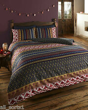KING SIZE DUVET COVER SET MULTI RETRO INDIAN DESIGN WINE GOLD WHITE NAVY STRIPE