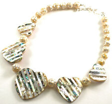 JAY KING Reversible Abalone Mother Of Pearl MOP Heart Necklace, Sterling Silver