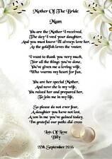 Wedding Day Thank You Gift, Mother Of The Bride from Groom Poem A5 Photo