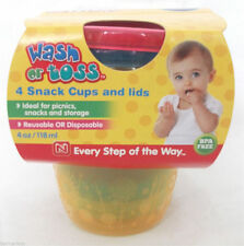 Nuby Wash or Toss 4 Snack Cups Pots and Lids 6m+ baby boy girl