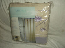 HOME TRENDS SPA LAVENDER/PURPLE EMBROIDERED COTTON/FLAX FABRIC SHOWER CURTAIN