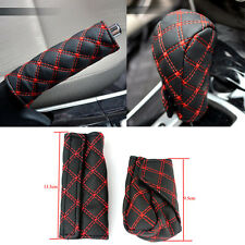 2 Pcs Car Accessory Decoration Gear Set Handbrake Jackets Grid Microfiber LXF