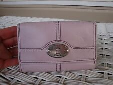 Fossil Maddox Lavender Purple Violet Leather Tri Fold Wallet Spring Clutch