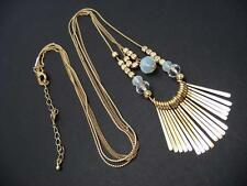"$18 Nordstrom 2 Row Beaded Fringe Layer Necklace Goldtone 33"" Long"
