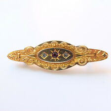 Gorgeous Victorian 9ct Gold/Paste Mourning Brooch with Locket Back Marked 9ct