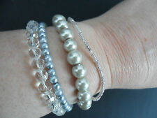 Design Six 4 Bead Strand Pearl & Clear Beaded Elasticated Bracelet BNWT