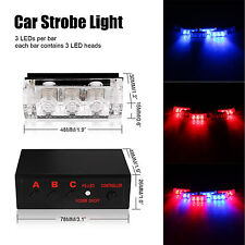 6pcs Car Emergency Light Lamp 3LED Police Red/Blue Strobe 3 Flashing Flash Dash