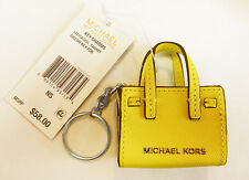 MICHAEL Michael Kors KEY CHARMS DILLON Canary Leather Key Fob Msrp $58.00