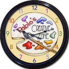 Artist's Creative Zone Wall Clock Custom Personaized Colorful Artist palette