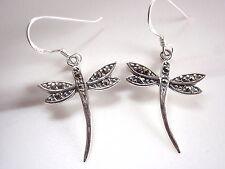 Dragonfly Marcasite Earrings Sterling Silver Dangle Corona Sun Jewelry Dainty
