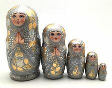 Russian Princess Nesting Doll Hand Painted babushka set   Signed