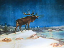 Elk in Snowy Moon Light Night vintage art