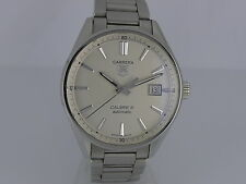 Tag Heuer Carrera Calibre 5 auto date silver dial SS bracelet sport watch in box
