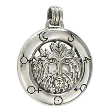 Sterling Silver Green Man Pendant with Alchemical Symbols Jewelry Wicca Greeman