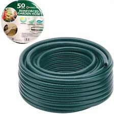 50M GARDEN HOSE PIPE REEL REINFORCED TOUGH 50 METRE OUTDOOR HOSEPIPE GREEN UK