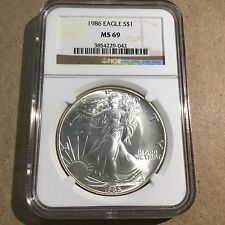1986 1 Oz Silver American Eagle $1 NGC MS69 (First Year of Issue)