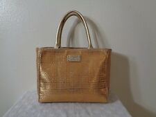 KATE SPADE GOLD METALLIC WOVEN STRAW GOLD LEATHER TRIM TOTE PURSE