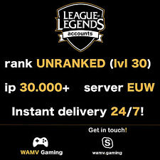 League of Legends Account LOL | EUW | Level 30 | 30.000+ IP | 30k+ | Unranked