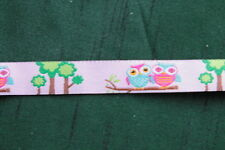 1m Webband / Borte / Ripsband 16mm - Kindermotiv Eulenpaar - rosa