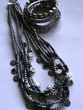 NEW CHICO'S SILVER BEADED MULTI STRING NECKLACE AND BRACELET