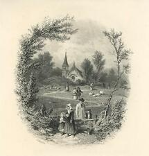 ANTIQUE CHURCH IN THE WOODS PASTORAL SHEEP FAMILY TREE BENCH MINIATURE ART PRINT
