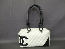 Authentic CHANEL White x Black Cambon Line Leather Shoulder Bag