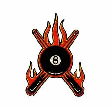 8 Ball Pool Sticks Flames Embroidered Iron On Patch Applique