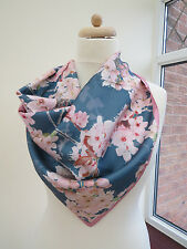 NEW!!Laura Ashley square silk scarf with pink flowers 100% Silk -slight second