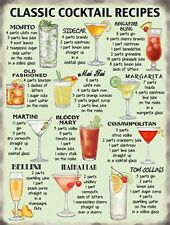 Vintage Style Metal Wall Kitchen Sign Retro Cocktail Recipes Funny