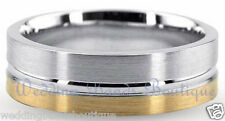 18K TWO TONE WHITE & YELLOW GOLD WEDDING BAND MEN MAN SATIN FINISH FLAT RING 7mm