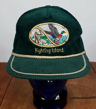 rare Vtg 80s Fighting Island Corduroy Rope Snapback Hat Cap Michigan Canada Bird