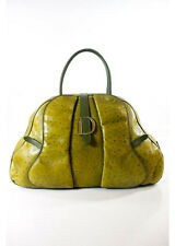 AUTH CHRISTIAN DIOR Green Ostrich Leather Gold Tone Double Handle Bowler Handbag