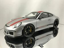 Spark Porsche 911 R (991) Silver & Red with Showcase Resin Model Car 1/18